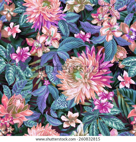 seamless floral pattern.detailed exotic print with stylized color palette and beautiful tropical flowers and leaves. hyper natural look, realistic illustrations.  - stock photo