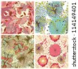 Seamless floral pattern. For easy making seamless pattern just drag all group into swatches bar, and use it for filling any contours. Raster version. - stock photo