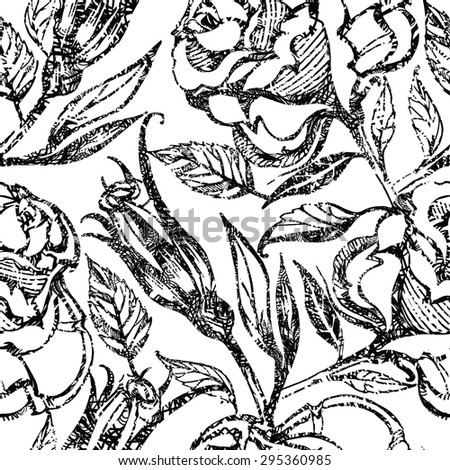 Seamless floral pattern, freehand drawing - flowers  - stock photo