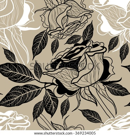 Seamless floral pattern, freehand drawing - rose flowers and leafs - stock photo