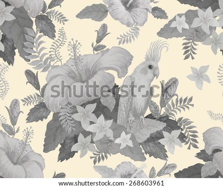 Seamless floral pattern from hand drawn watercolor hibiscus, yellow parrot, exotic small flowers and fantasy tropical foliage on light beige background - stock photo