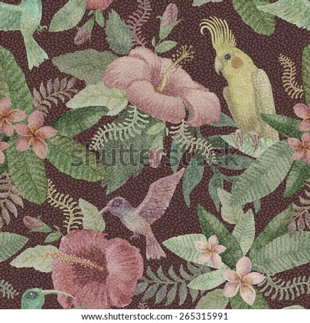 Seamless  floral pattern from hand drawn watercolor pink hibiscus  flowers, yellow parrot, exotic small birds and fantasy tropical foliage on dark red background - stock photo