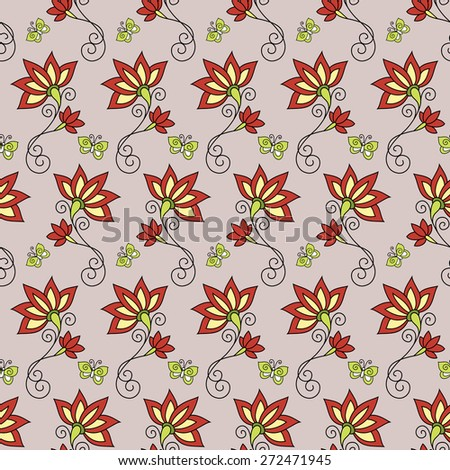 Seamless Floral Pattern. Hand Drawn Floral Texture, Decorative Flowers - stock photo