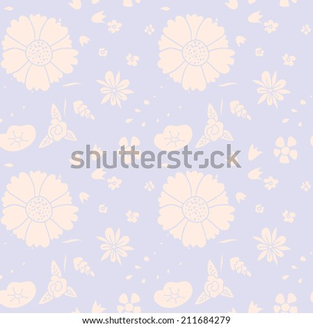Seamless floral pattern. Hand-drawn flowers. Raster version. - stock photo