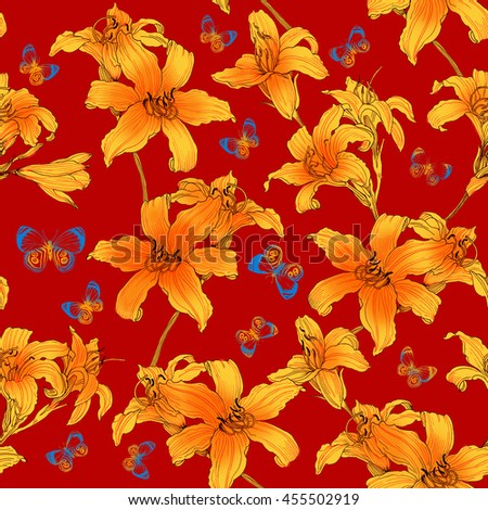 Seamless floral pattern in oriental style with lilies flowers  and butterflies. Hand painted. Raster illustration.