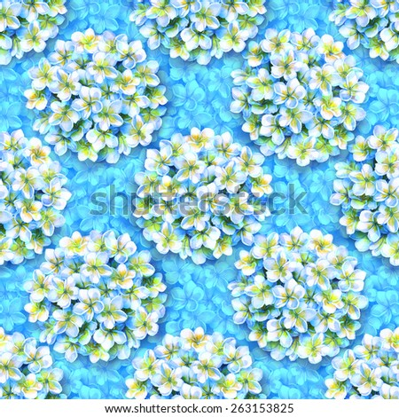 seamless floral pattern of white flowers on a blue floral background. Gentle, delicate floral bouquets of yellow plumeria, frangipani on a blue flowers. bunches of tropical blossoming flowers - stock photo
