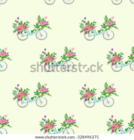 Seamless floral pattern , oil crayons painting - stock photo