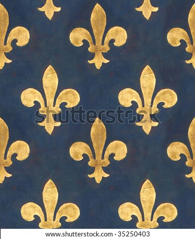 Seamless floral pattern. Old wall with Medicis' golden lilies from Palazzo Vecchio in Florence (italy) - stock photo