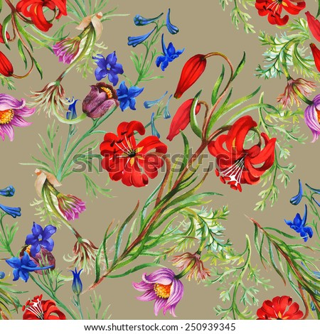 Seamless floral pattern on beige background with meadow flowers