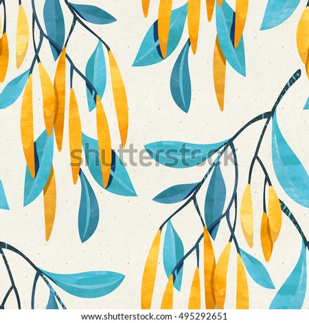 Seamless floral pattern on paper texture. Botanical background.