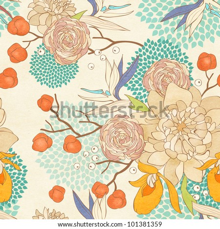 Seamless floral pattern on paper textured background - stock photo