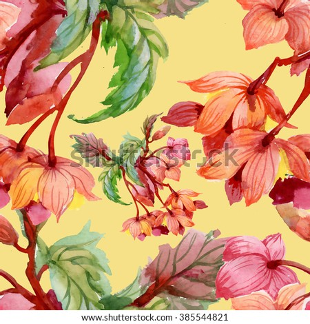 Seamless floral pattern on yellow background with blooming flowers - stock photo
