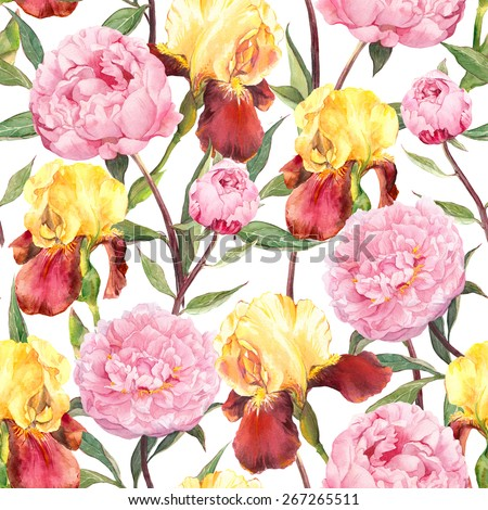 Seamless floral pattern. Peonies flowers and irises. Watercolor - stock photo