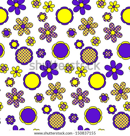 Seamless Floral pattern purple and yellow - stock photo
