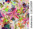 Seamless floral pattern. Raster version. - stock photo