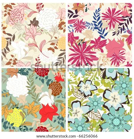 Seamless floral pattern set - stock photo