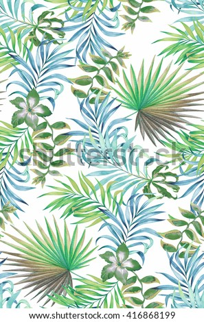seamless floral pattern. tropical flowers, on black background, sexy and trendy faded washed colors and illustrations. Botanical accurate drawings of hibiscus, palm, heliconia.  - stock photo