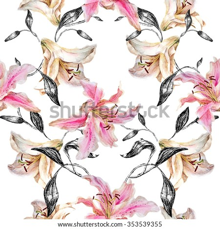 Seamless floral pattern.White and pink lily with monochrome leaves on a white  background.Watercolor painting. - stock photo