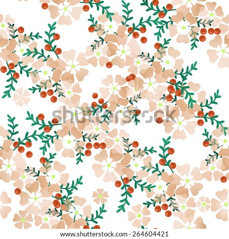 Seamless floral pattern white background