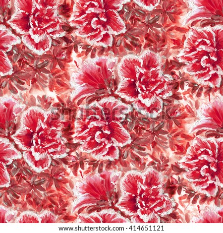 Seamless floral pattern with beautiful hand painting Azalea flowers - stock photo