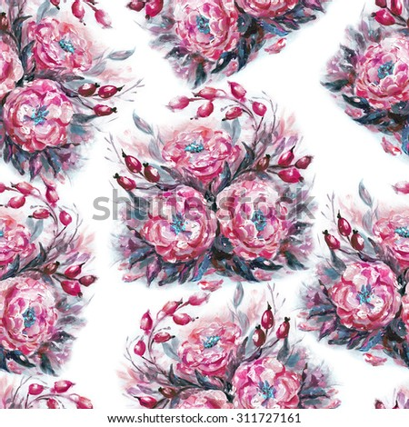 Seamless floral pattern with beautiful oil painting wilde roses - stock photo