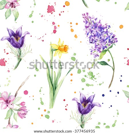 Seamless floral pattern with beautiful spring flowers, Anemone, Narcissus, Daffodil, Lilac. Watercolor painting - stock photo