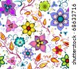 Seamless floral pattern with chaotic flowers - stock photo