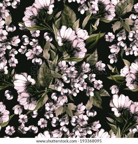Seamless floral pattern with eustoma on dark background, watercolor. - stock photo
