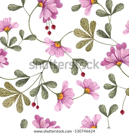 Seamless Floral Pattern Flowers Leaves Stock Illustration