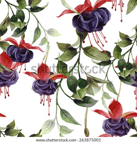 Seamless floral pattern with fuchsia, watercolor.   - stock photo