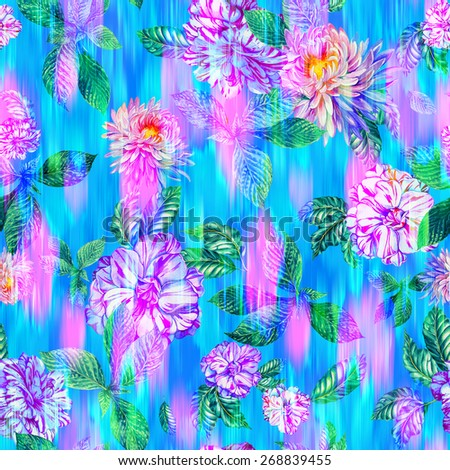 seamless floral pattern with ikat effect. beautiful chrysanthemum and camellia flowers on textured flowing background.  - stock photo