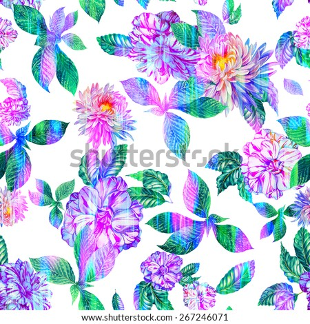 seamless floral pattern with ikat effect. beautiful chrysanthemum and camellia flowers with double exposure ikat texture - stock photo