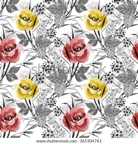 Seamless floral pattern with of red and yellow roses on white background, watercolor illustration - stock photo