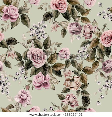 Seamless floral pattern with of roses on light background, watercolor. - stock photo
