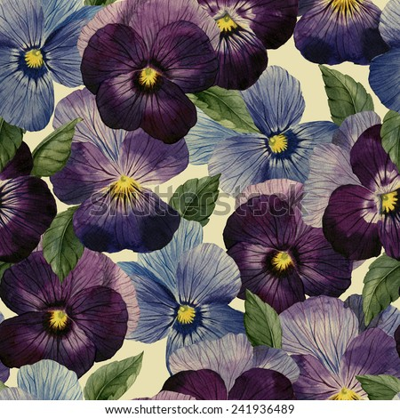 Seamless floral pattern with pansy, watercolor  - stock photo