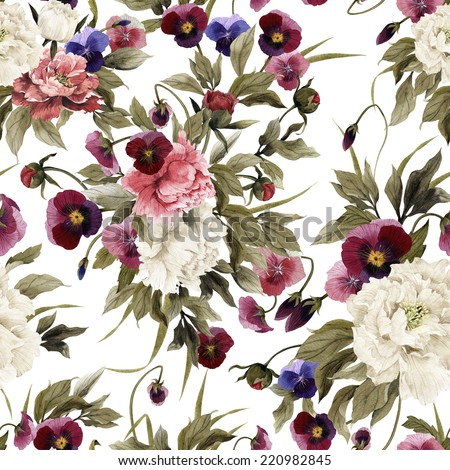 Seamless floral pattern with peonies and pansy, watercolor - stock photo