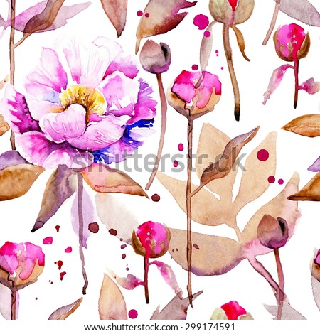 Seamless floral pattern with peonies on watercolor background. #4 - stock photo