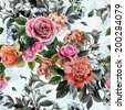 Seamless floral pattern with pink and orange roses and peonies on watercolor background. - stock photo