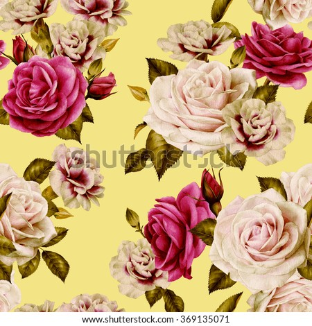 Seamless floral pattern with pink roses, watercolor  - stock photo