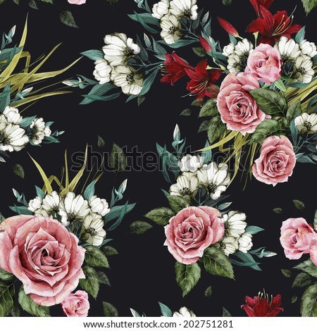 Seamless floral pattern with roses and lilies on black background, watercolor. - stock photo