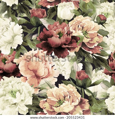 Seamless floral pattern with roses on dark background, watercolor. - stock photo