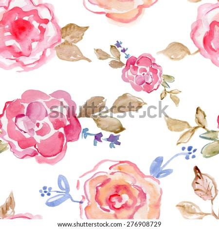 Seamless floral pattern with roses on white  background, watercolor.