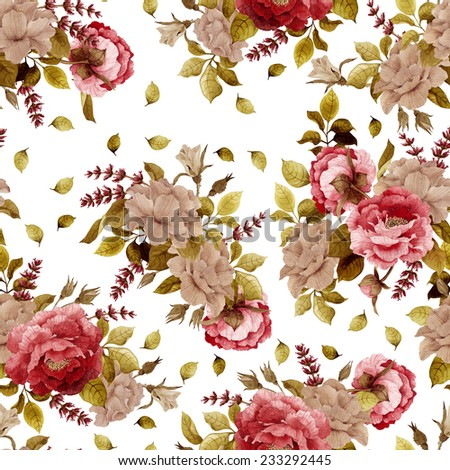 Seamless floral pattern with  roses, peonies and lavender, watercolor  - stock photo