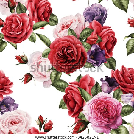 Seamless floral pattern with roses, watercolor.   - stock photo