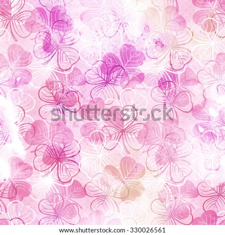 Seamless floral pattern with three leaf clover - stock photo