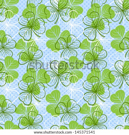 Seamless floral pattern with three leaf clover. Raster version. Vector is also available in my gallery - stock photo