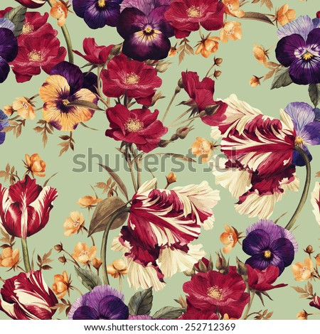 Seamless floral pattern with tulips, pansy and dogrose, watercolor  - stock photo