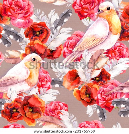 Seamless floral pattern with watercolor flowers (poppy, rose) and birds. Aquarel background - stock photo