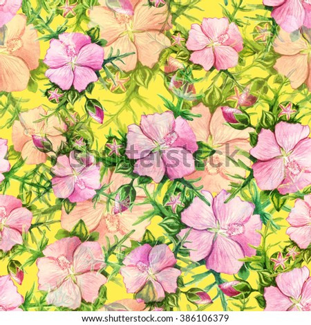 Seamless floral pattern with watercolor Mallow flower. Watercolor illustration on yellow background. - stock photo