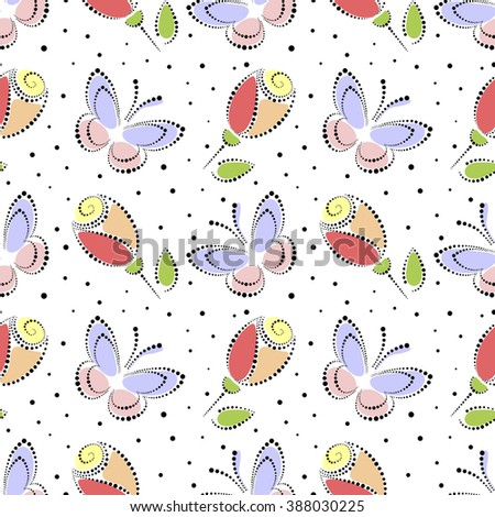 Seamless floral raster pattern. Colorful ornamental background with butterflies and roses. Decorative repeating ornament, Series of Floral and Decorative Seamless Pattern. - stock photo